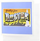 3dRose Greetings from Boston Mass. Scenic Postcard Reproduction - Greeting Cards, 6 x 6 inches, set of 6 (gc_170229_1)