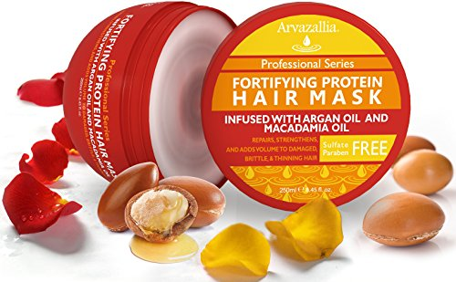 Fortifying Protein Hair Mask And Deep Conditioner With Argan Oil And Macadamia Oil By Arvazallia Hair Repair Treatment For Damaged Brittle Or Thinning Hair Promotes Natural Hair Growth
