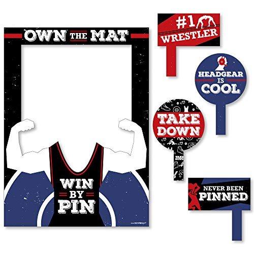 Own The Mat - Wrestling - Birthday Party or Wrestler Party Selfie Photo Booth Picture Frame & Props - Printed on Sturdy Material