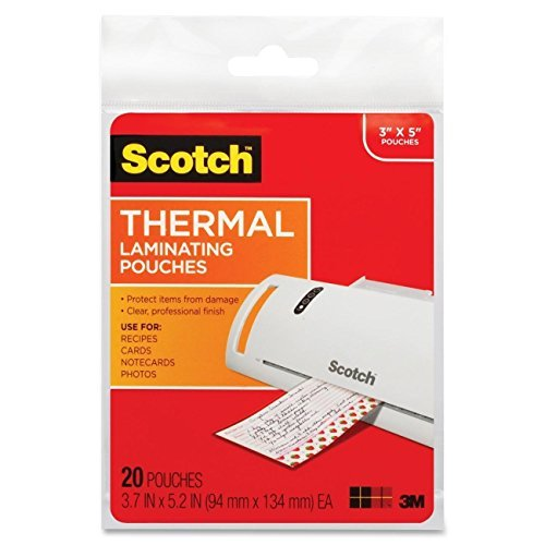 Scotch Thermal Laminating Pouches, 3.7 Inches x 5.2 Inches, 20 Pouches, 2-PACK
