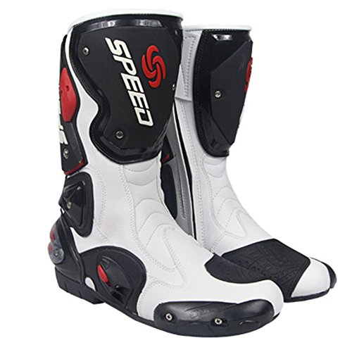 (NEW Men's Motorcycle Racing Boots White US 9.5 EU 43 UK 8.5)