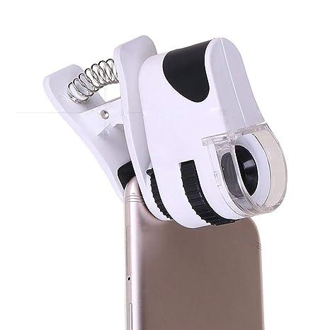 Lupa USB Recargable Foto de teléfono móvil 60 × Zoom Clip para teléfono móvil con luz