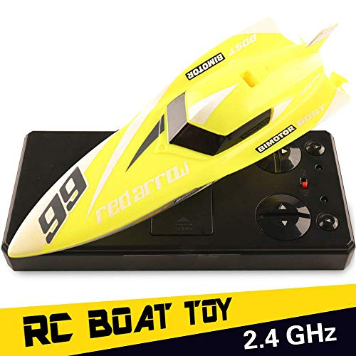 RC Boat Toys, Remote Control Boat for Pools and Lakes, 2.4GHz 4 Channels High Speed Remote Control Boat Fast RC Boat Racing, Radio Controlled Boats, RC Speed Boats Electric Toy for Adults and Kids