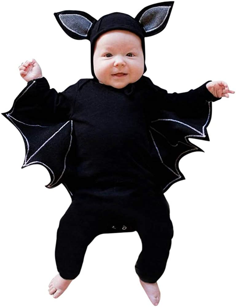 Vinjeely Toddler Baby Boys Girls Halloween Bat Cosplay Long Sleeve Romper+Hat Outfits