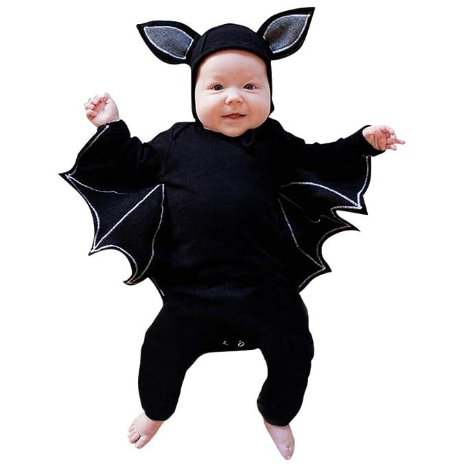 Disfraz Halloween Niña Niño Bebe Fossen Recién Nacido Bebé Monos de Manga murciélago Tops con Sombrero