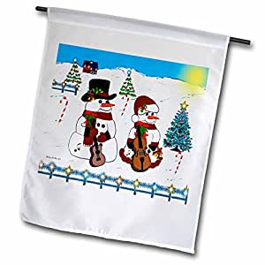 SmudgeArt All Things Christmas - The Snowman Band - 18 x 27 inch Garden Flag (fl_6496_2)