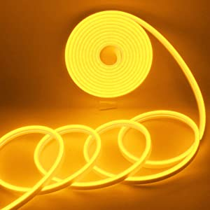 EverBright Led Strip Lights 12V Led Neon Rope Light Indoor Outdoor 16.4Ft 600SMD Amber Led Strip, Silicone Led Neon Lights Waterproof Flexible for Signboard Bar Home Party Holiday Decoration