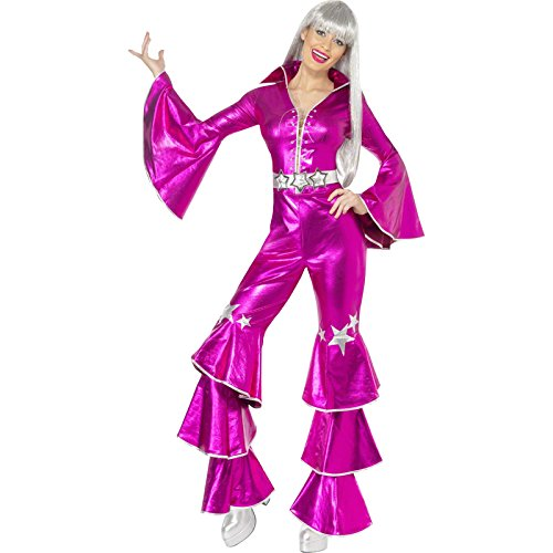 Smiffy's Women's 1970's Dancing Dream Costume, Lace up Jumpsuit, 70 Disco, Serious Fun, Size 10-12, ()