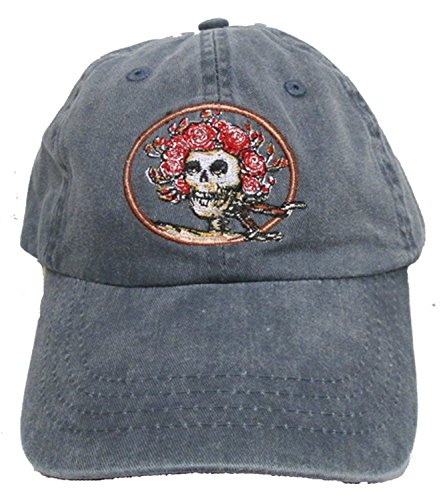 Licensed Grateful Dead Skull & Roses Embroidered Baseball Style Cap by Dye The Sky (Gray)