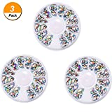 3d crystal gems - Hestya 3 Pack Nail Art Gems Resin 3D Acrylic Manicure Nail Art Decorations Wheel for DIY Crafts, Crystal AB