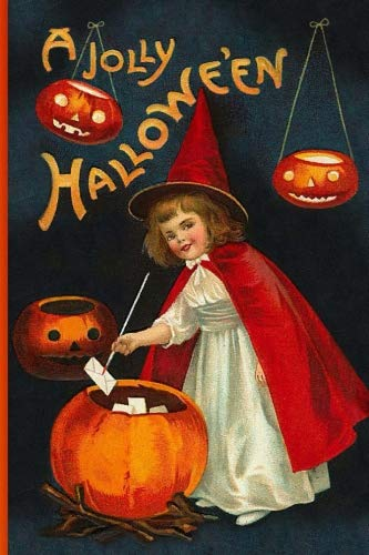 A Jolly Hallowe'en: Vintage Journals by Amybug's Attic : Vintage Halloween Cute Red Witch Hat Cape White Dress with Magic Wand Letters Jack O'Lanterns ... Postcard Ephemera Notebook Journal Diary ()