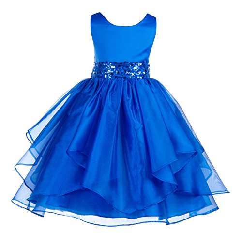 ekidsbridal Asymmetric Ruffled Organza Sequin Flower Girl Dress Toddler Girl Dresses 012S 8 Royal ()