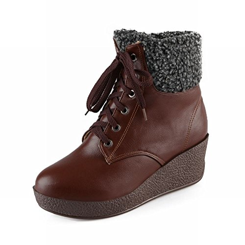 Carol Shoes Women's Western Mid-heel Wedges Turnover-cuff Short Boots Brown 2kaejL