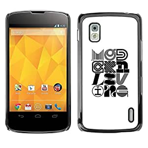 All Phone Most Case / Hard PC Metal piece Shell Slim Cover Protective Case for LG Google Nexus 4 E960 Pop Art Modern Design Calligraphy