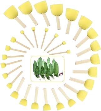 Pincel de Esponja Redondo EMAGEREN 30pcs Esponjas para Pintar Brochas de Esponja Redondas para Regalo de ni/ños Herramientas de Pintura de Punteado 5 Tama/ños Diferentes Cepillo de Esponja Redondo