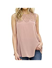 Women's Floral Loose Casual Crochet Knit Lace Vest Tank Top Sleeveless Blouse
