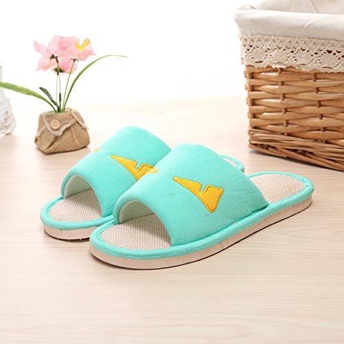 Y-Hui Playa primavera y verano zapatillas zapatillas Home Furnishing par Lino Apertura del suelo Anti-Skid zapatillas,44/45,Lago Verde
