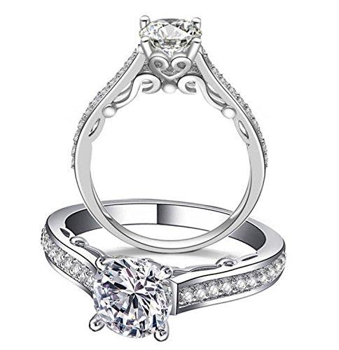 Ring Designer Diamond Simulated (Venetia Supreme Realistic 1 Carat Hearts and Arrows Cut Simulated Diamond Ring Art Decor 925 Silver Platinum Plated Cubic Zirconia cz ract45)