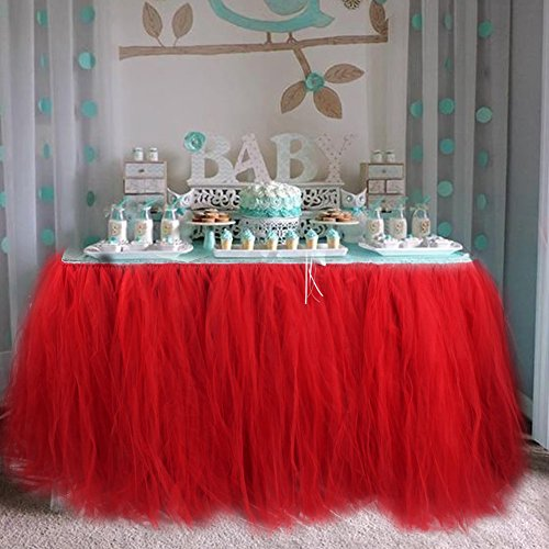 Aytai TUTU Table Skirt Tulle Tableware Queen Wonderland Table Cloth Skirting Romantic for Wedding Christmas Party Baby Shower Birthday Cake Table Girl Princess Decor(1, Red)