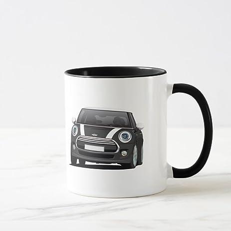 Amazon.com | Zazzle Mini Hatch Cooper, Two Image Mug, Black - White ...