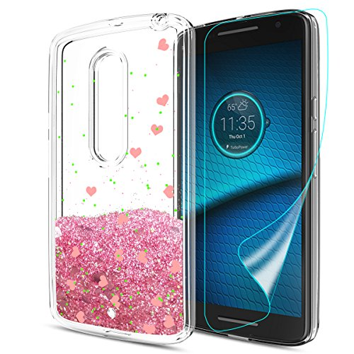 DROID MAXX 2 / Moto X Play (2015) Case with HD Screen Protector, Atump Luxury Girls Liquid Glitter Bling Soft TPU Sparkly Shiny Shockproof Protective Cocer Shell for MOTO X3/ XT562/ XT1561 Pink