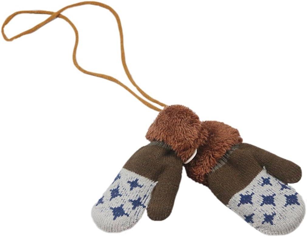 SAMGU Gants de B/éb/é Hiver Moufles Enfant Chaude Full Fingers Boy Girl Mitaines Coton Tricot Gants avec la Corde Tour du Cou Cadeau No/ël