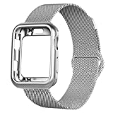 OROBAY Compatible with iWatch Band Case 38mm, Stainless Steel Magnetic Mesh Milanese Loop Band with Soft TPU Case Compatible with Apple Watch Series 3 Series 2 Series 1, Silver