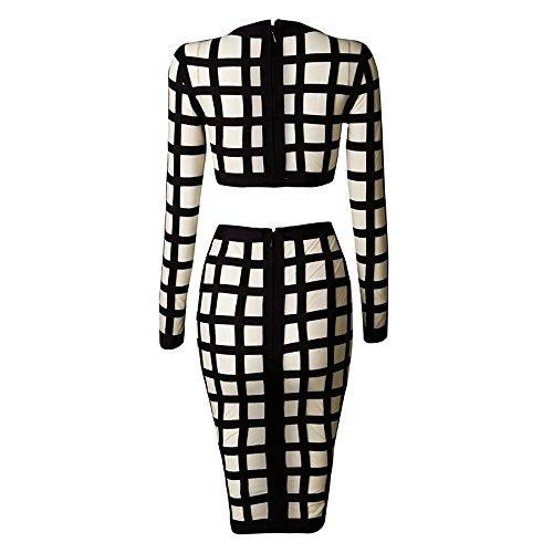 Dress 2 HLBandage High Set Mesh Sleeve Piece Beige Bodycon Waist GridLong Bandage 7TBdwTvq