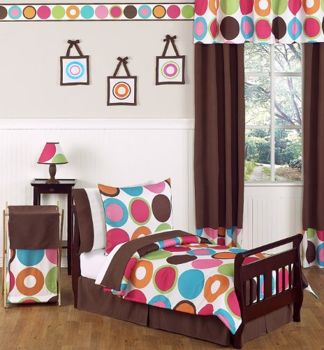 Pink, Orange and Blue Colorful Polka Dot Deco Dot Girl Toddler Kid Childrens Bedding Set by Sweet Jojo Designs - 5 pieces Comforter, Sham and Sheets