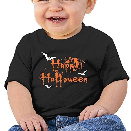 Happy Halloween 6 - 24 Months Baby T-shirts Round Neck Shirt Black 12 Months (Halloween Horror Nights 24 T Shirts)