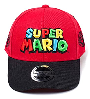 Super Mario Baseball Cap Logo Official Nintendo Red Curved Bill Snapback from Nintendo Merch