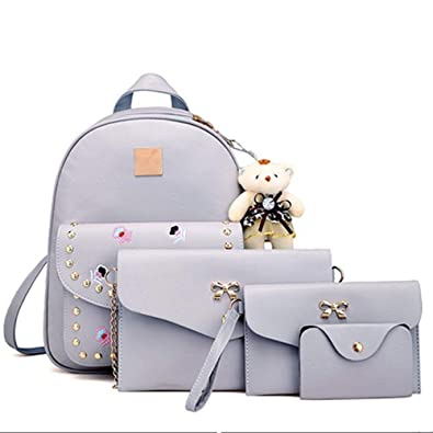 SHOPEE BRANDED 4pcs set Waterproof Casual Backpack Handbag sling bag with  mini taddy bear 21ffc17ea91f1
