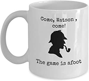 Book themed coffee mug - Come Watson come The game is afoot - Famous Sherlock Holmes quote detective silhouette hat pipe - Sir Arthur Conan Doyle English literature author gift crime story lover