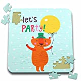 Uta Naumann Sayings and Typography - Cute Baby Woodland Bear Typography On Blue Polkadots - Lets Party - 10x10 Inch Puzzle (pzl_275535_2)
