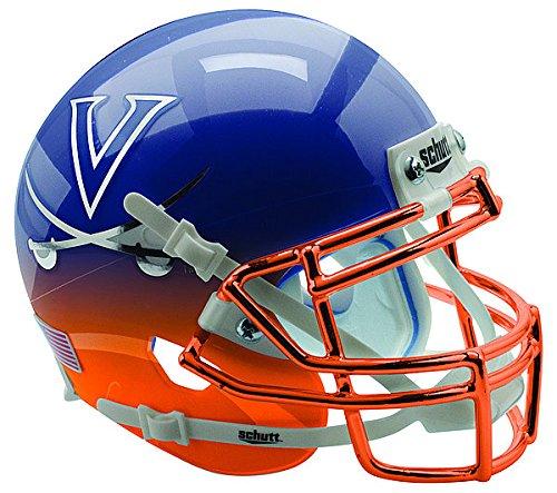 (Schutt Virginia Cavaliers Authentic College XP Football Helmet Navy Orange Featherhead with Chrome Mask - Licensed Virginia Cavaliers Memorabilia)