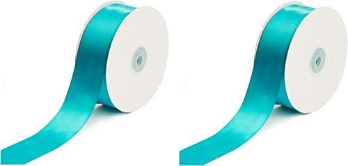 Creative Ideas Solid Satin Ribbon, 1-1 2 50 yd, Turquoise wo ack