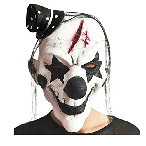 Pinji Halloween Clown Mask Latex Black and White for Adults Cosplay Props Costume Party Decoration