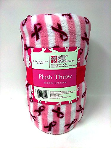 Breast Cancer Awareness Pink Ribbon Hope Throw Blanket Survivor Patient Gifts Light Pink Stripes