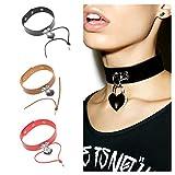 JoJo & Lin Leather Choker with Heart Locket Charms Choker Necklace for Women