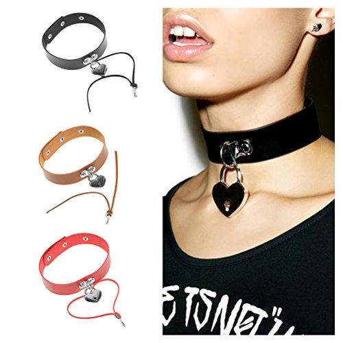 JoJo & Lin Black Heart Lock Pendant Leather Choker Necklace for Women Gift Heart Pendant Choker