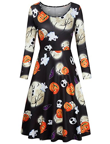 Womens Midi Dresses With Sleeves,Faddare Timeless Teens Girls Trend Fashion Flattering Print Dress,Black Moon (Halloween Dresses For Women)