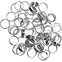 Adjustable Ring Blanks Metal Base Set by Kurtzy – Ring Making - DIY Jewelry Finding, Custom Metal Ring sizers, Nickle Free & Non-Toxic Silver Platted Alloy with Glue on Pad for placing Gems & Beads