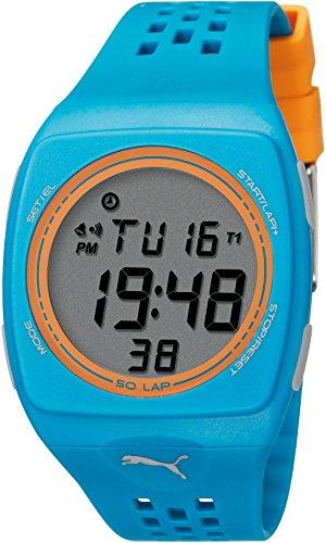 Puma Faas 300 Unisex Digital Watch with LCD Dial Digital Display and Blue Plastic or PU Strap PU910991008