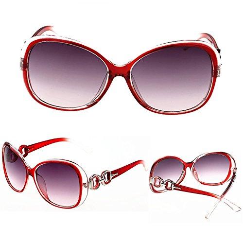 diseño mujer de estilo Gafas vintage Lamdoo para Rojo marrón marrón retro sol fABXnqw