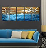 Tropical Blue Ocean Excellent Seascape Metal Wall Art Original Abstract Painting on Aluminum Board Large in-out door Modern Contemporary Sculpture Decorative Artwork set of 6 panels 24''x65''
