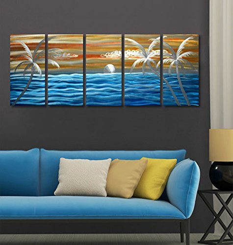 Tropical Blue Ocean Excellent Seascape Metal Wall Art Original Abstract Painting on Aluminum Board Large in-out door Modern Contemporary Sculpture Decorative Artwork set of 6 panels 24''x65'' (Wall Art Door The Metal Over)