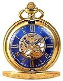 KS KSP073 Men's Mechanical Pocket Watch Retro Rome Number Golden Case With Chain