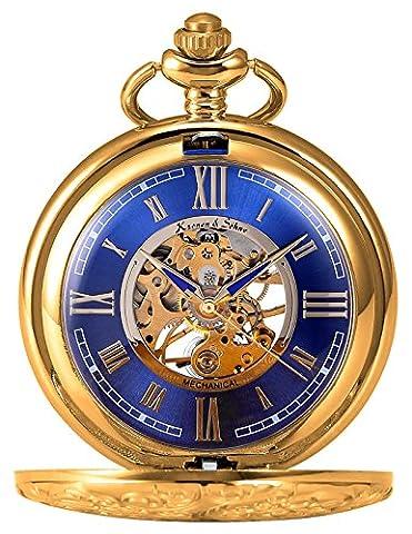 KS KSP073 Men's Mechanical Pocket Watch Retro Rome Number Golden Case With Chain (Mechanical Pocket Watch Engraved)