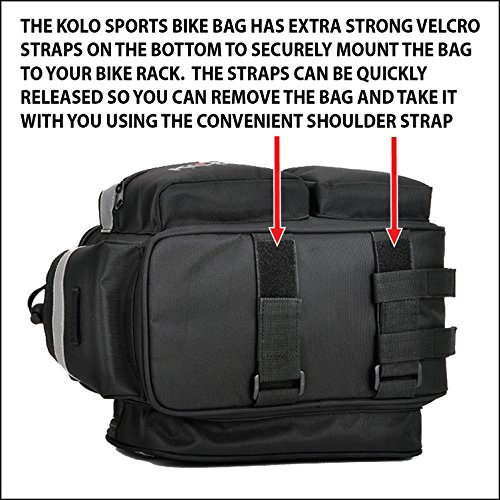 Kolo Sports Bike Pannier Bag | Durable & Waterproof Nylon With Extra Padded Foam Bottom & 3 Side Reflectors | Shoulder Strap Rack Rear Trunk Tote Bag | Strong Velcro, Zipper Pockets & Bottle Case by Kolo Sports (Image #4)