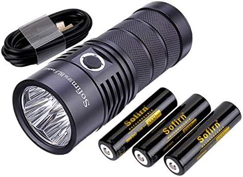 Super Hell raufladbare USB C 5000K 90CRI mit 4x Samsung LH351D und 18650 Button top Batterie Sofirn BLF SP36 Led Taschenlampe
